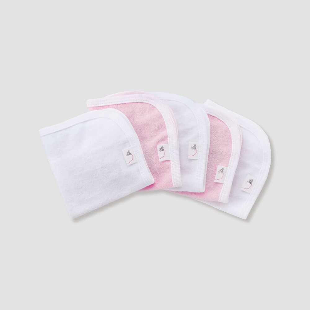 Image of Burt's Bees Baby Girls' Organic Cotton 5pk Washcloth Set - Blossom