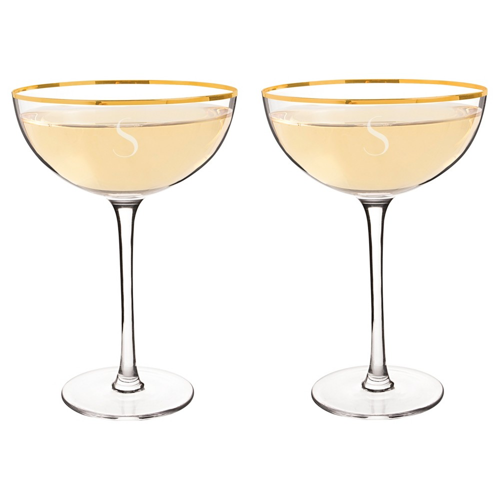 2ct s Gold Rim Coupe Flutes, Clear - S