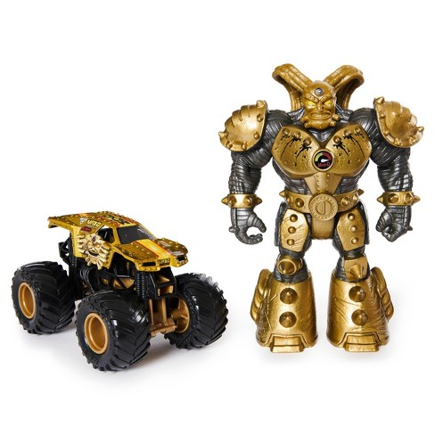 Monster Jam Official Max D 1 64 Scale Monster Truck And 5 Maximus Creatures Action Figure Metallic Gold Target