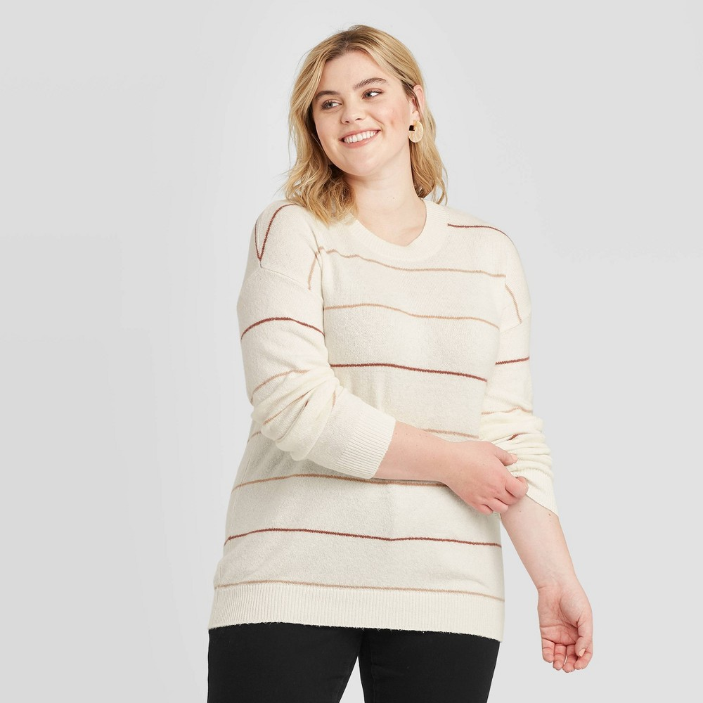 Women's Plus Size Crewneck Striped Pullover Sweater - Ava & Viv Cream X, Women's, Beige was $27.99 now $19.59 (30.0% off)
