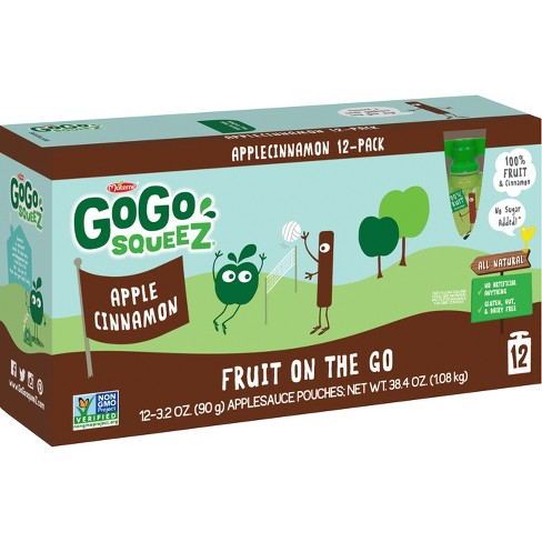 Gogo Squeez Applesauce On The Go Apple Cinnamon Pouches - 3.2oz 12ct - image 1 of 1