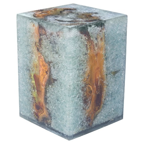 Reclaimed Teak Wood, Acrylic and Glass Stool - ZM Home - image 1 of 4