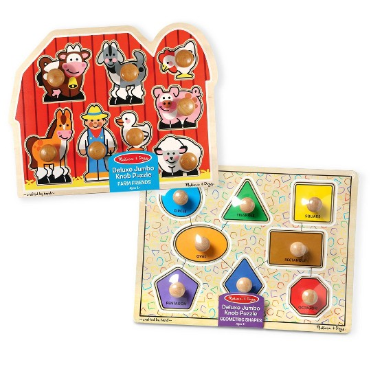 Melissa & Doug Jumbo Knob Wooden Puzzles - Shapes and Farm Animals 2pc image number null
