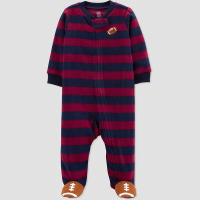 Baby Boys' Football Striped Fleece Footed Pajama - Just One You® made by carter's Blue/Red 9M