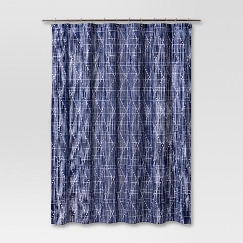 Diamond Printed Shower Curtain Navy