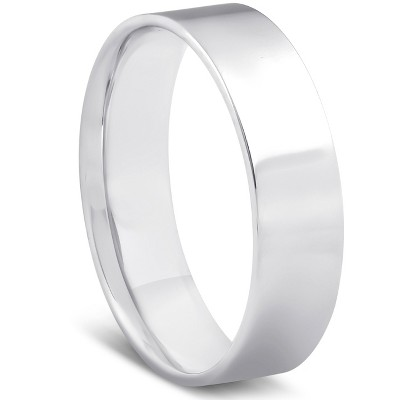 Pompeii3 10k White Gold 6mm Flat Comfort Fit High Polished Wedding Band Mens Ring - Size 11