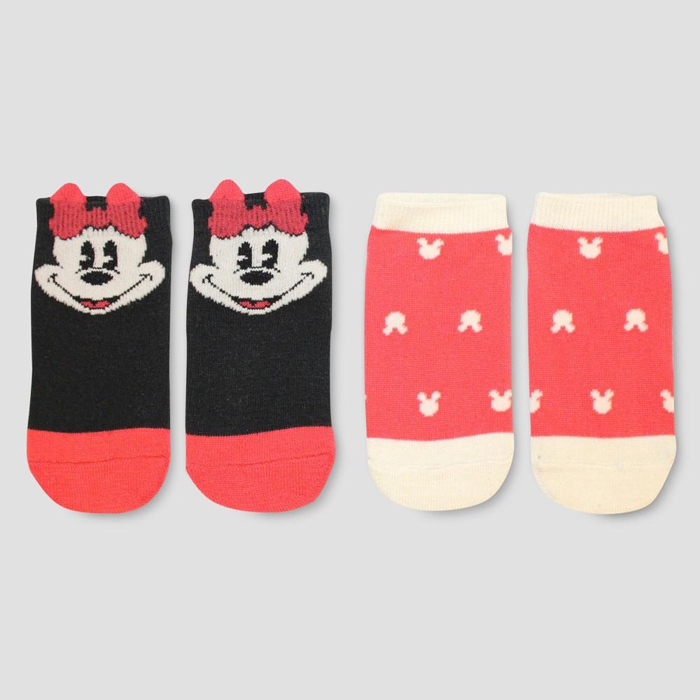 Junk Food Girls' Disney Mickey Mouse & Friends Minnie Mouse 2pk Socks - Black/Red S