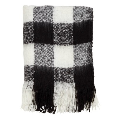 Faux Mohair Buffalo Plaid Throw Blanket Black - Saro Lifestyle