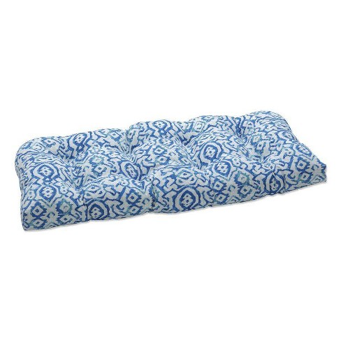 """44"""" x 19"""" Outdoor/Indoor Loveseat Cushion Dobran Ocean Blue - Pillow Perfect - image 1 of 1"""