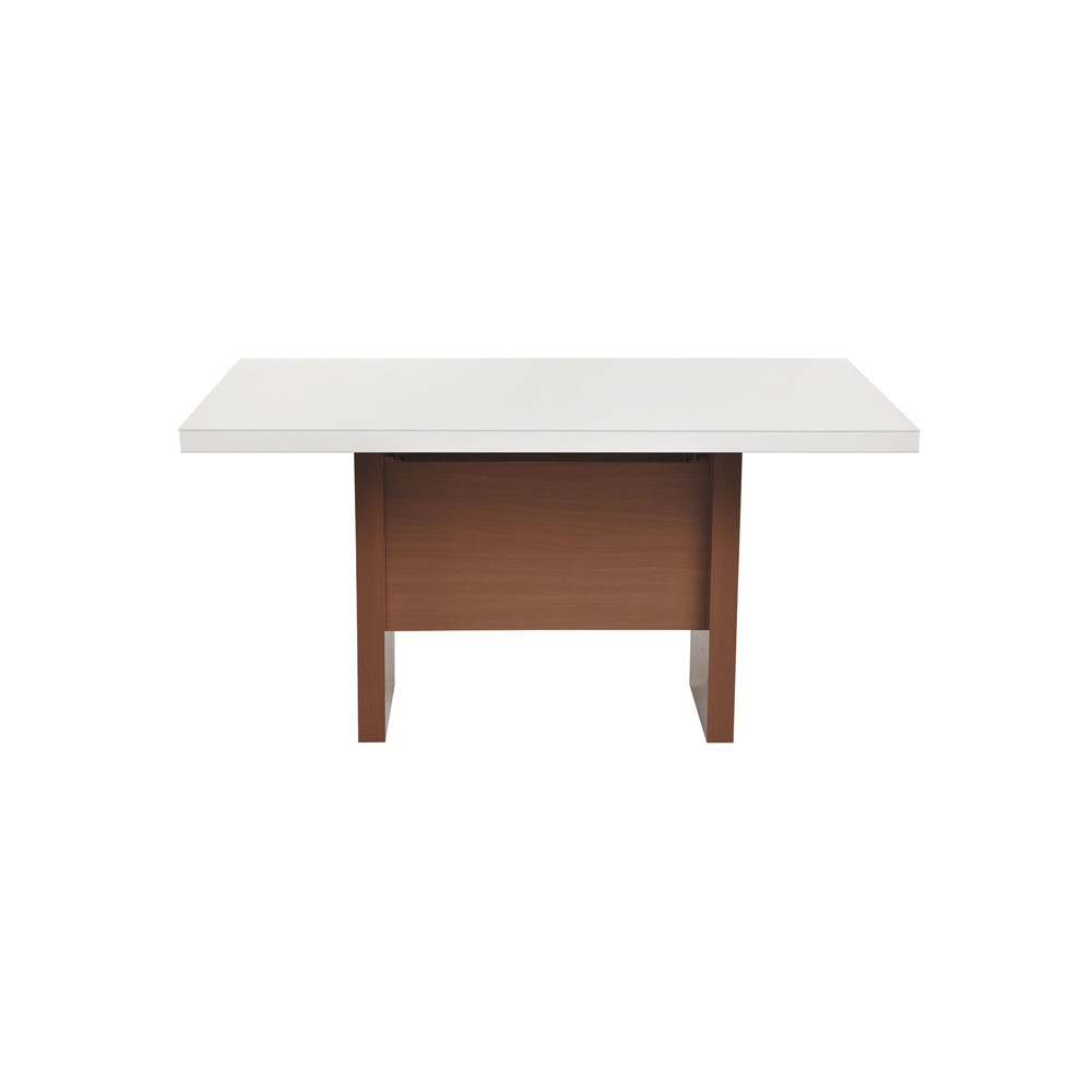72.04 Dover Modern Rectangle Dining Table with Glass Top Maple Cream/Gloss White - Manhattan Comfort