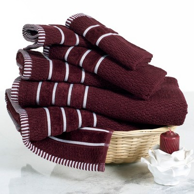 6pc Combed Cotton Bath Towels Sets Burgundy Heather - Yorkshire Home