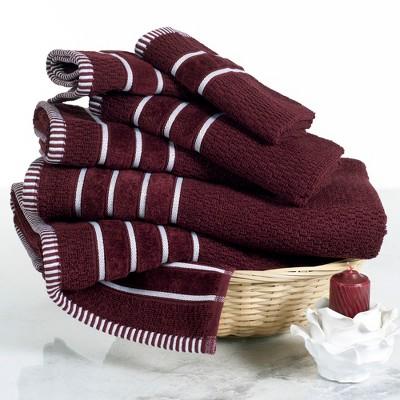 6pc Chevron Bath Towels Sets Burgundy - Yorkshire Home