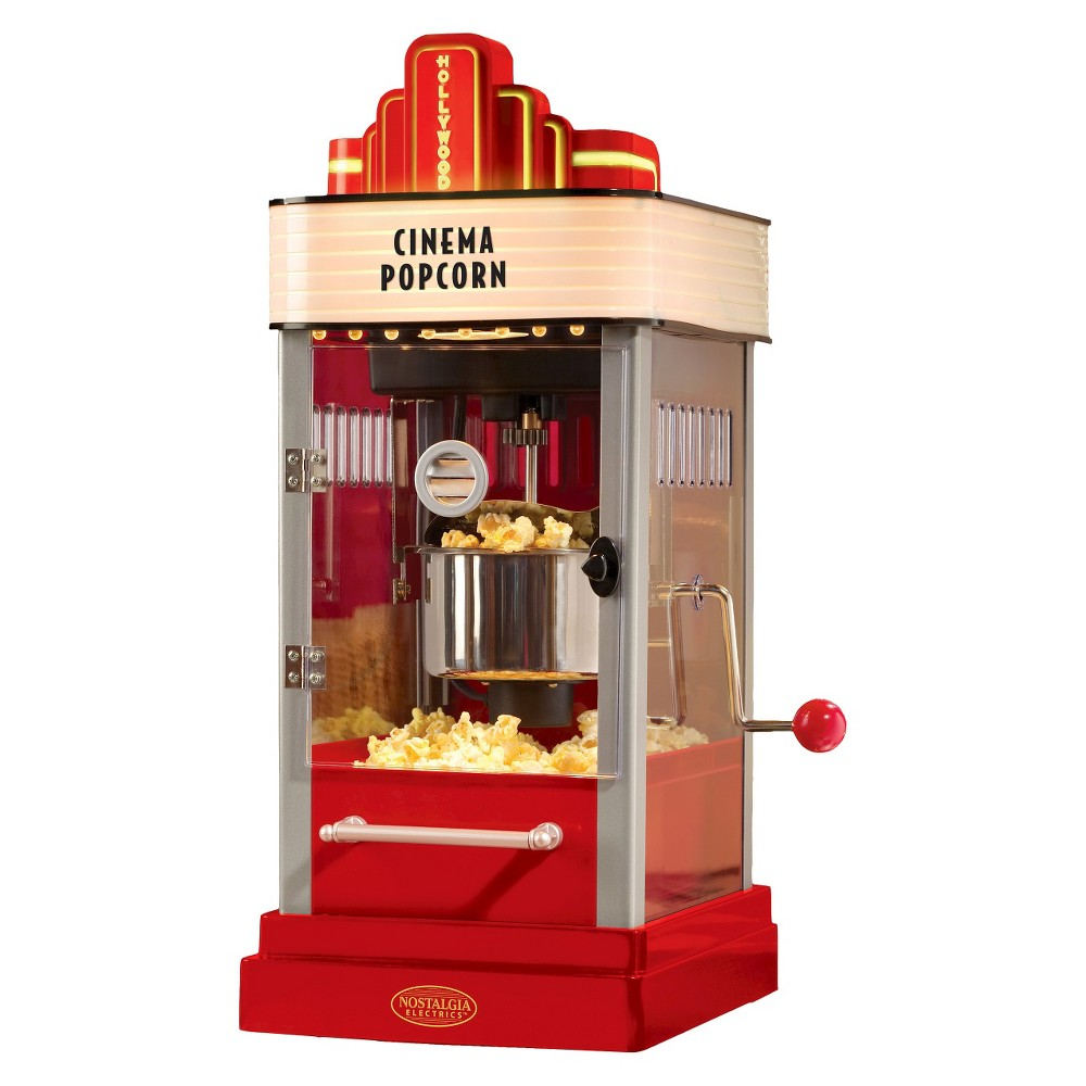 Nostalgia Hollywood Kettle Popcorn Popper, Red