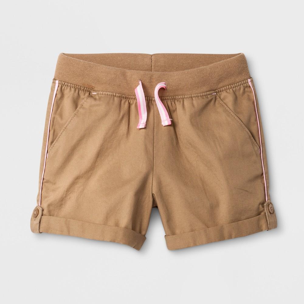 Toddler Girls' Twill Fashion Shorts - Cat & Jack Brown 12M
