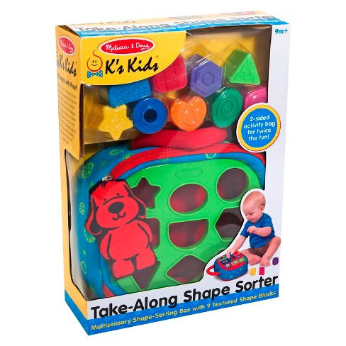 Melissa & Doug® K's Kids Take-Along Shape Sorter Baby Toy With 2-Sided Activity Bag and 9 Textured Shape Blocks - image 1 of 4