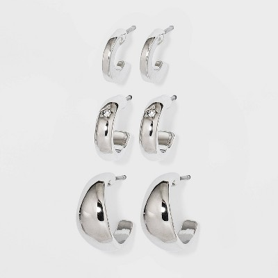 Small Hoop Trio Earrings - A New Day™ Silver