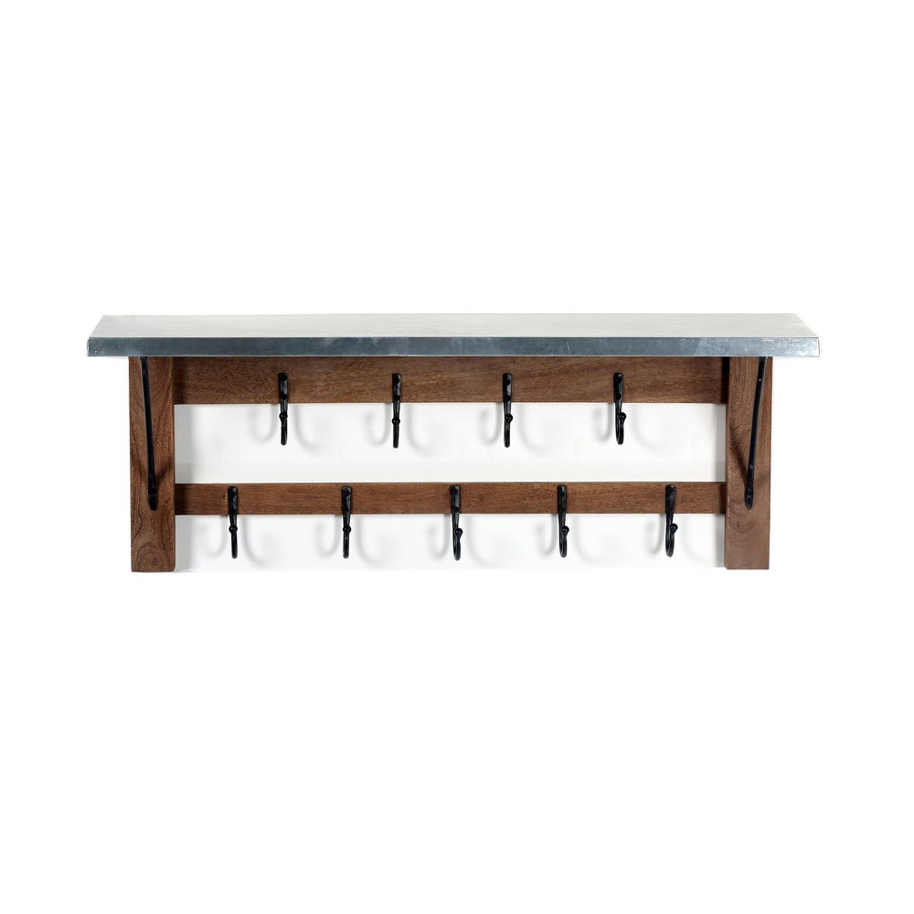 Image of Millwork Double Row Hook Shelf Wood and Zinc Metal Silver/Light Amber - Alaterre Furniture, Brown