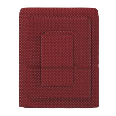 Hastings Home Queen Size Brushed Microfiber 4 Piece Embossed Checkered Bed Sheet and Linen Set with Stain Resistant Fitted and Flat Sheets - Burgundy