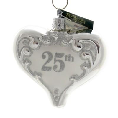 "Old World Christmas 3.5"" 25Th Anniversary Heart Wedding Silver  -  Tree Ornaments"