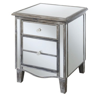 Gold Coast Park Lane Mirrored End Table Weathered Gray/Mirror - Breighton Home