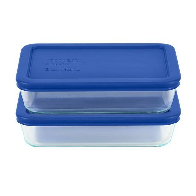 Pyrex 3cup 4pc Rectangular Food Storage Containers Set Blue
