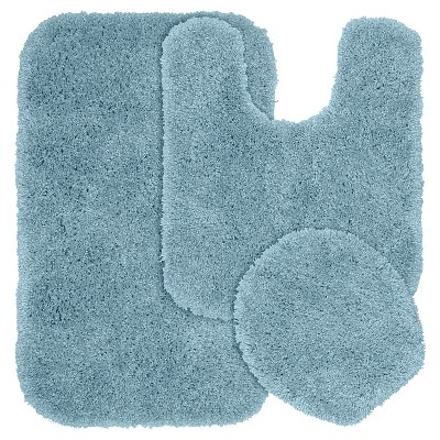Garland 3 Piece Serendipity Shaggy Washable Nylon Bath Rug Set - Basin Blue