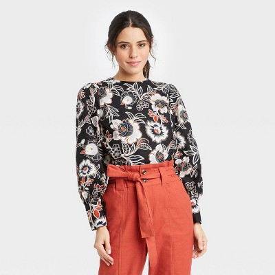 Women's Floral Print Long Balloon Sleeve Button-Back Top - Who What Wear™