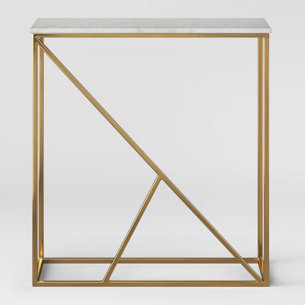 Highfield Console Table White Marble/Brass Fully Assembled - Project 62, Gold