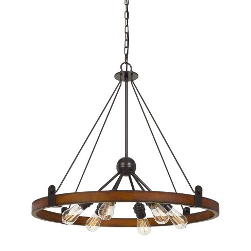 60W X 6 Lucca Wood Metal Chandelier Ceiling Light Edison Bulbs Not Included