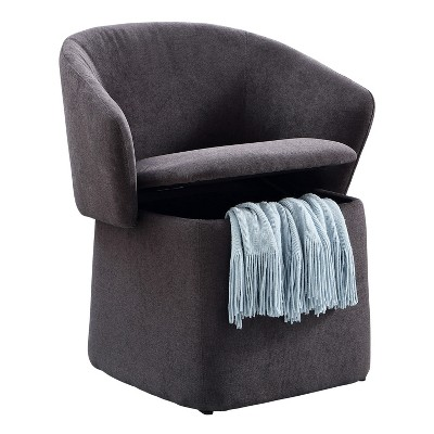 MHF Flip-Back Accent Chair, 3-in-1 Upholstered Transforming Chair/Ottoman with Storage