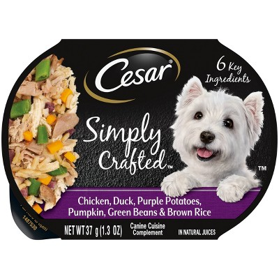 Cesar Simply Crafted Wet Dog Food with Chicken, Duck, Pumpkin, Potato & Green Beans - 1.3oz
