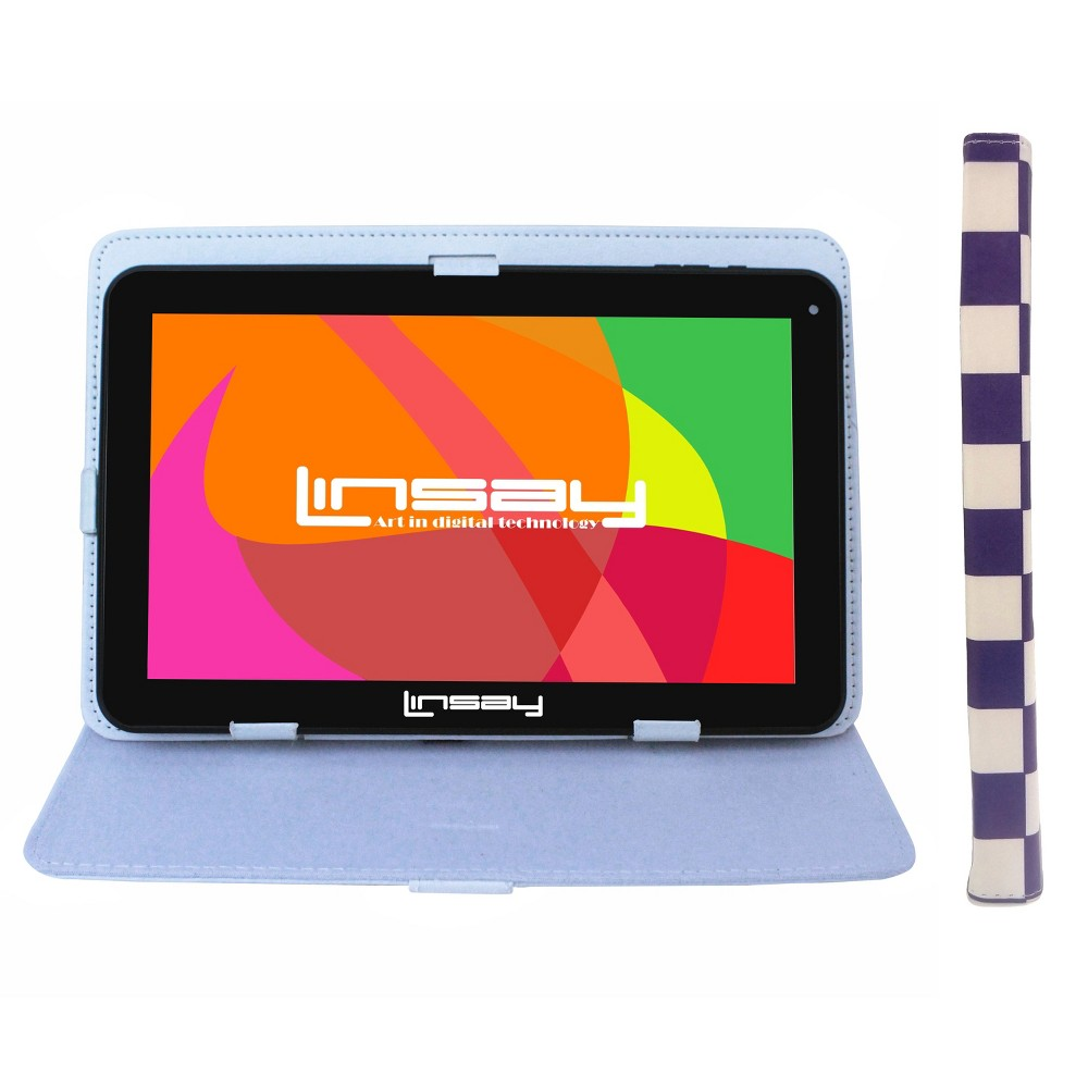 "LINSAY 10.1"" 1024x600 HD Quad Core 1GB RAM 16GB Android Tablet with Square Case - White/Purple, Black"