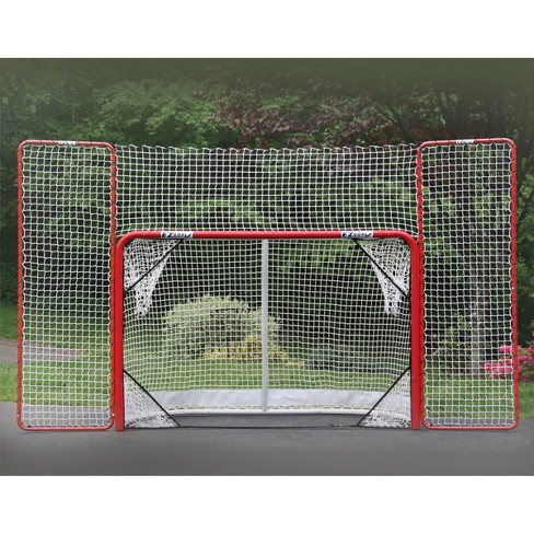 EZ Goal Folding Metal Hockey Goal with Backstop & Targets - 6'x4'