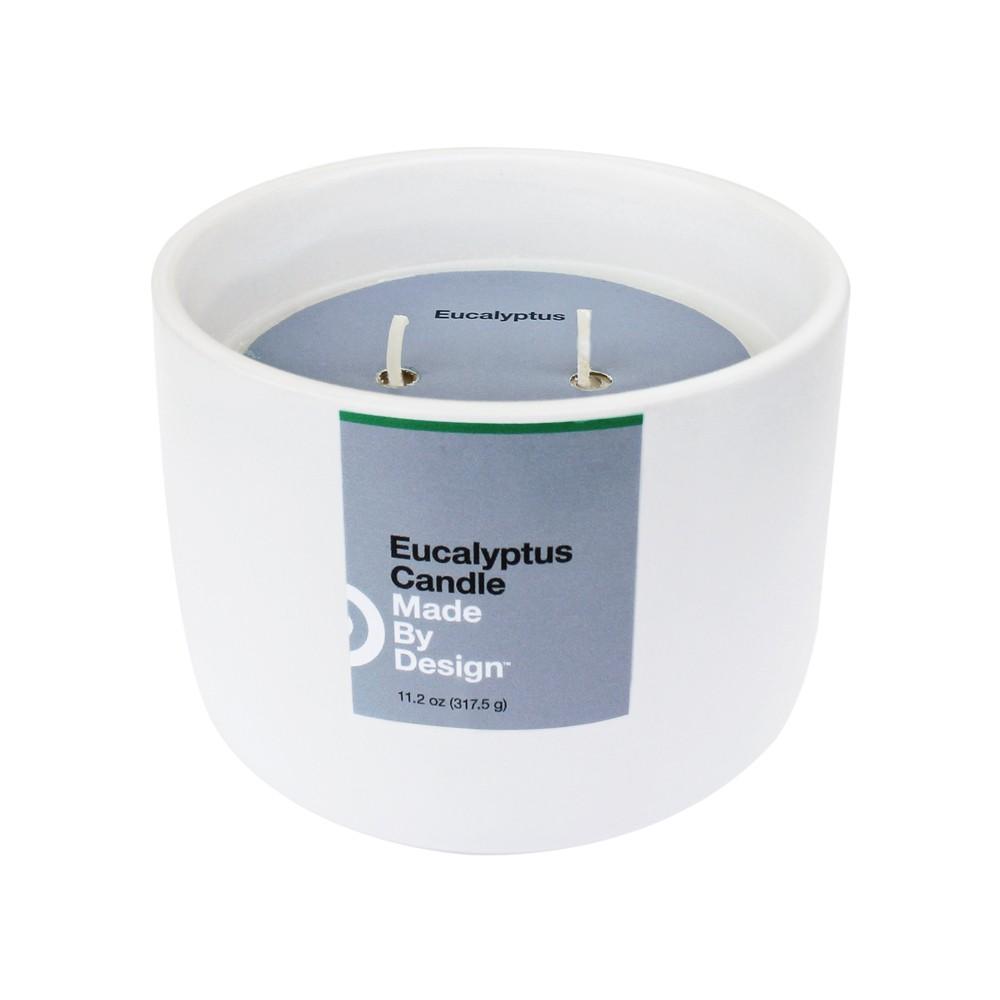 Image of 11.2oz Ceramic Jar 2-Wick Candle Eucalyptus - Made By Design , White