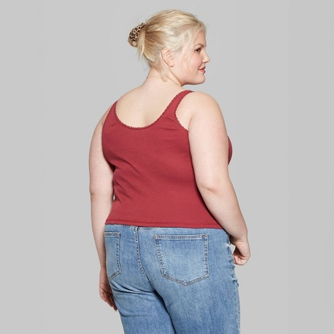 6613d331ac79d Women s Plus Size Lace Edge Ribbed Tank - Wild Fable™ Berry Flick. Shop all Wild  Fable