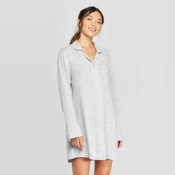 Women's Perfectly Cozy Notch Collar Nightgown - Stars Above™ Light Gray