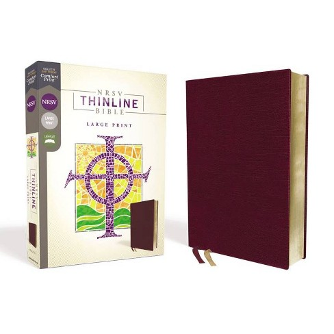 Nrsv, Thinline Bible, Large Print, Bonded Leather, Burgundy, Comfort Print - by  Zondervan - image 1 of 1
