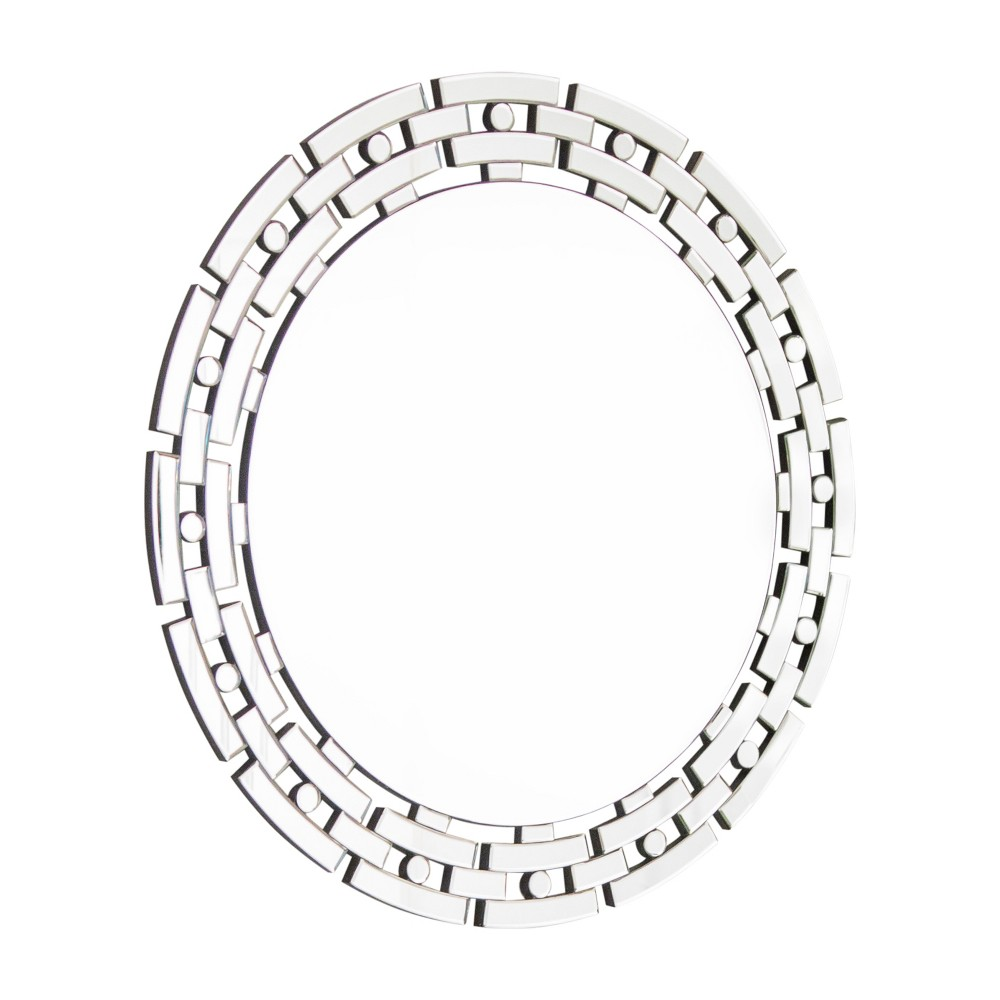 Image of Carmen Chain Link Round Wall Mirror Silver - Abbyson Living