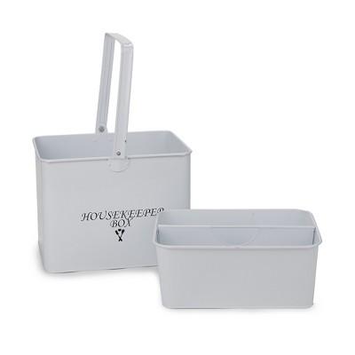 Mind Reader Metal Housekeeper Supply Basket, White