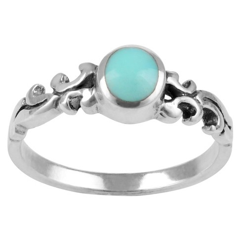 1/10 CT. T.W. Oval-cut Turquoise Fashion Bezel Set Ring in Sterling Silver - Blue - image 1 of 2
