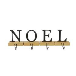 "Northlight Set of 4 Brown and Black ""NOEL"" Christmas Stocking Holder 6"""
