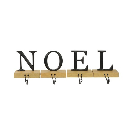 "Northlight Set of 4 Brown and Black ""NOEL"" Christmas Stocking Holder 6"" - image 1 of 3"