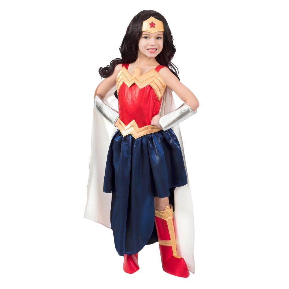 Image of Halloween Girls' Wonder Woman Super Hero Costume - M (8-10), Girl's, Size: Medium, MultiColored