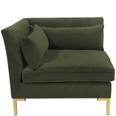 Alexis Corner Chair with Brass Metal Y Legs Dark Green Velvet - Cloth & Co.