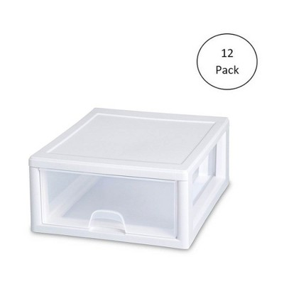 Sterilite 16 Quart Clear Plastic Stacking Storage Drawer Container Box