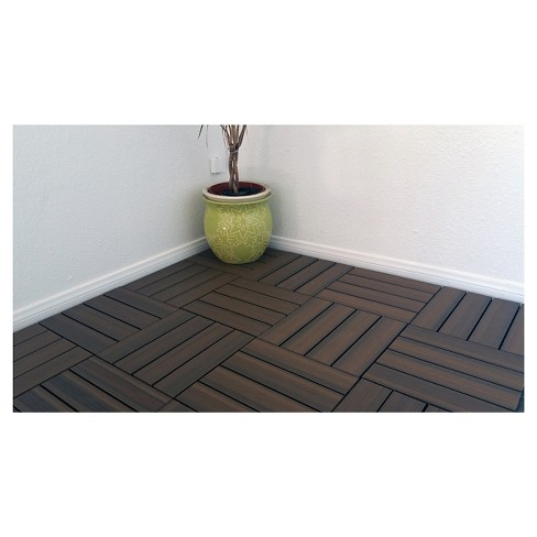 Vifah 11 Tiles Box Eco Friendly Wood Plastic Composite Interlocking Decking Tile Walnut Target