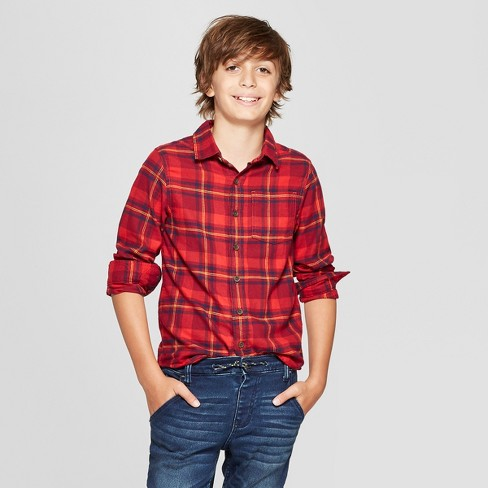 Boys' Classic Flannel Plaid Long Sleeve Button-Down Shirt - Cat & Jack™ Red - image 1 of 3