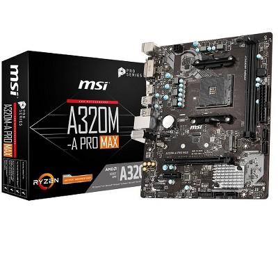 MSI Pro Series AMD A320-A Pro Max Motherboard - AMD A320 Chipset - Socket AM4 - 2 x Memory Slots - 12 x USB Slots - 4 x SATA 6GB/s