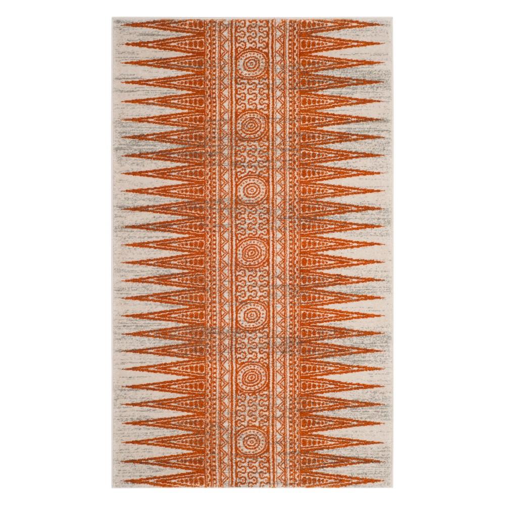 22X4 Geometric Design Loomed Accent Rug Ivory/Orange - Safavieh Price