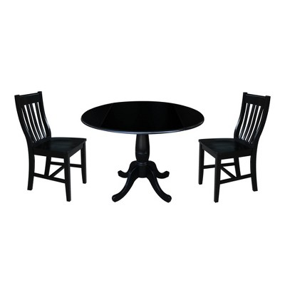 "42"" Round Top Pedestal Drop Leaf Table with 2 Chairs - International Concepts"